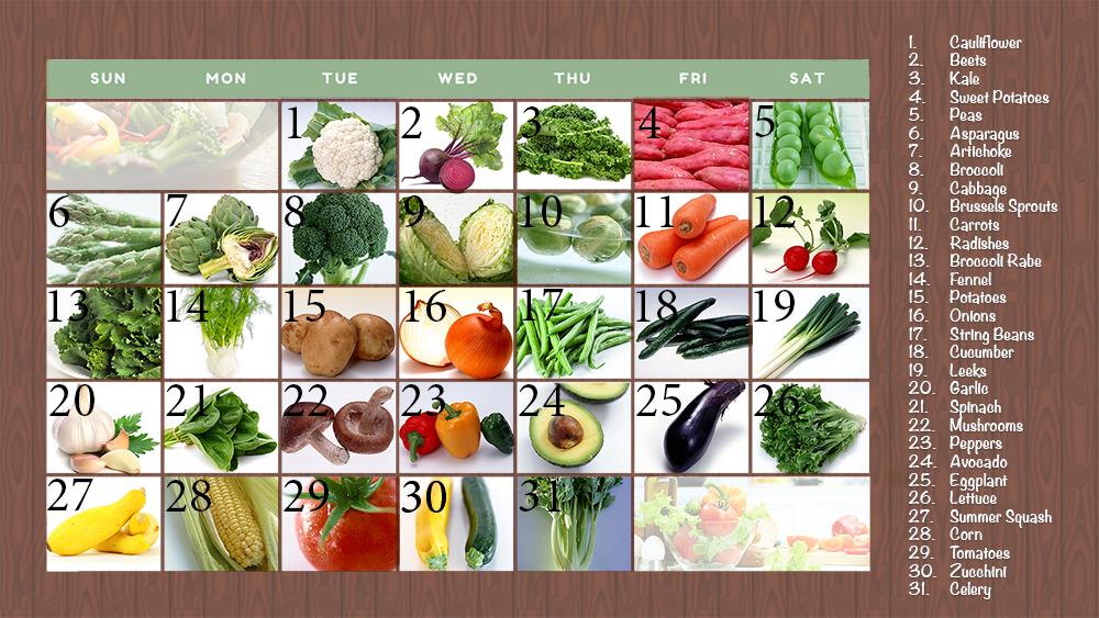 Veggie Challenge Calendar